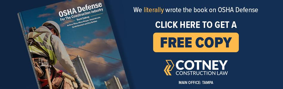 Cotney Construction Law - Billboard Ad -  Free OSHA Book
