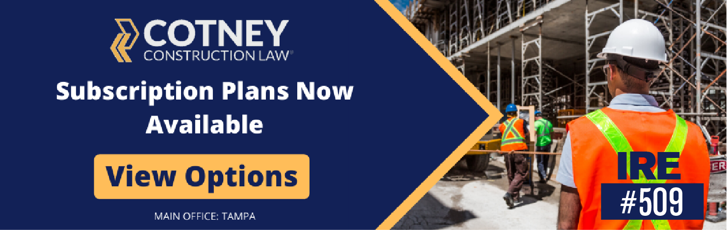 Cotney Construction Law - Billboard Ad - Subscription Plans