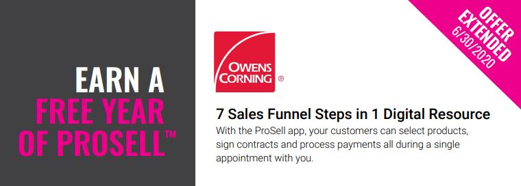 Owens Corning - Earn A Free Year of Prosell™ - Offer Extended untill 6/30/20