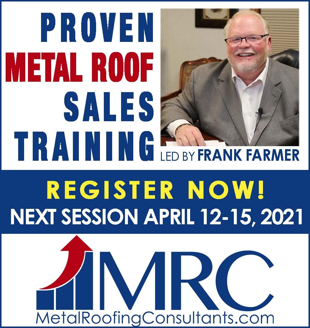 Metal Roofing Consultants - Sidebar Ad - Sales Training 2021